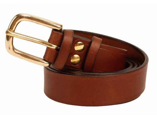 Italian Shoulder 1″ Mid Brown Leather Belt
