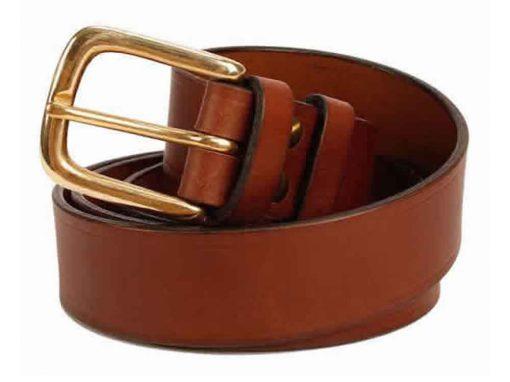 Italian Shoulder 1.25″ Mid Brown Leather Belt