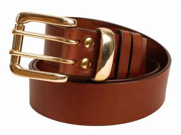"Italian Shoulder Leather 1.5"" Mid Brown Leather Belt - Nickel or Brass Loop"