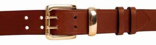 """Italian Shoulder Leather 1.5"""" Mid Brown Leather Belt - Nickel or Brass Loop"""