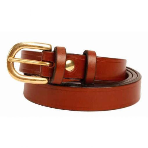 0.75 inch Mid Brown Oak Bark Bridle Leather Belt