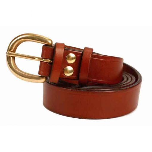 1 inch Mid Brown Oak Bark Bridle Leather Belt