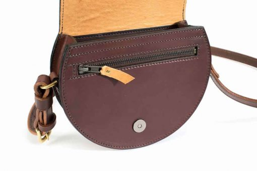 Round Evening Bag - brown - open