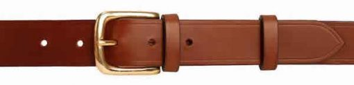 "Italian Shoulder Leather 1.25"" Mid Brown Leather Belt"