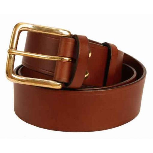 "Italian Shoulder Leather 1.5"" Mid Brown Leather Belt"