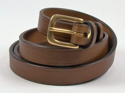 Mid Brown Italian Leather 0.75 inch Belt