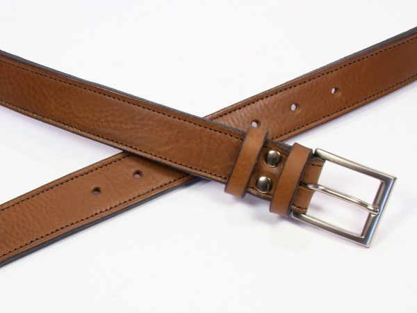 Contemporary Leather Belt - 30mm - grainy tan - stitched