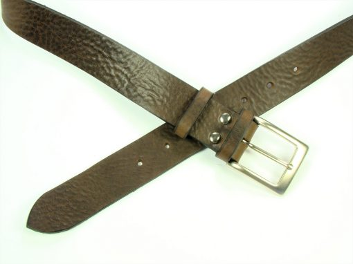 Contemporary Leather Belt - 35mm - grainy dark brown
