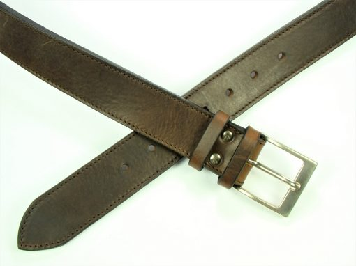 Contemporary Leather Belt - 40mm - grainy dark brown - stitched