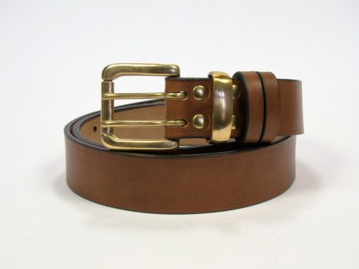 1.5 inch London Oak Bark Bridle Leather Belt with Brass Loop