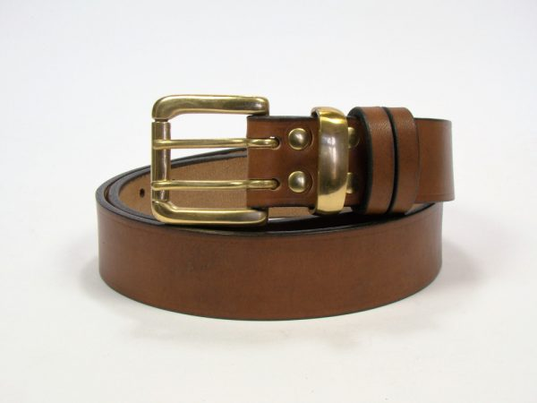 1.5 inch London Oak Bark Bridle Leather Belt with Brass Loop